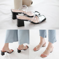 Square Toe Casual Style Plain PVC Clothing Chunky Heels