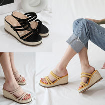 Round Toe Casual Style Suede Plain Platform & Wedge Sandals