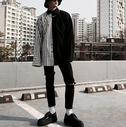 Shirts Button-down Stripes Street Style Long Sleeves Plain Shirts 3