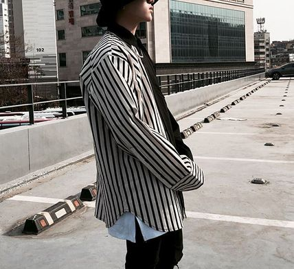 Shirts Button-down Stripes Street Style Long Sleeves Plain Shirts 2