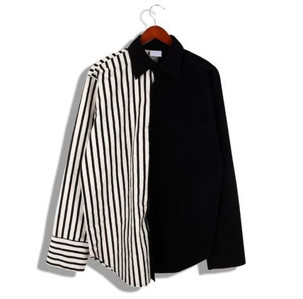 Shirts Button-down Stripes Street Style Long Sleeves Plain Shirts 9