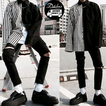 Button-down Stripes Street Style Long Sleeves Plain Shirts