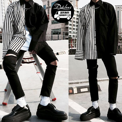 Shirts Button-down Stripes Street Style Long Sleeves Plain Shirts