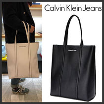 Calvin Klein Casual Style Faux Fur Street Style Plain Totes