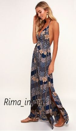 Flower Patterns Maxi Halter Neck Long Party Style Dresses
