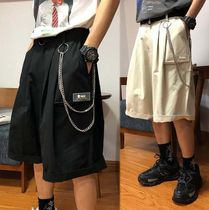 Street Style Plain Cotton Oversized Sarouel Shorts