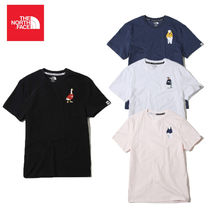 THE NORTH FACE Crew Neck Unisex Plain Cotton Short Sleeves