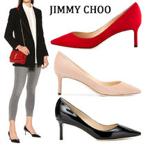 Jimmy Choo Plain Leather Elegant Style Pointed Toe Pumps & Mules