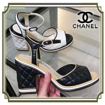 CHANEL Open Toe Plain Leather Block Heels Elegant Style