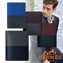 HERMES Calfskin Bi-color Plain Folding Wallets