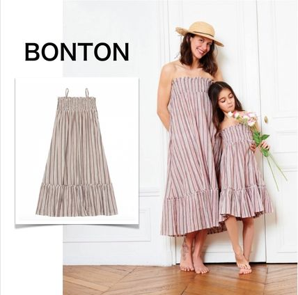 Stripes Casual Style Maxi Sleeveless Cotton Long Dresses