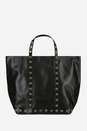 Casual Style Blended Fabrics A4 Leather Totes