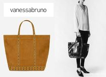 vanessabruno Casual Style Blended Fabrics A4 Leather Totes