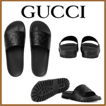 GUCCI Monogram Street Style Leather Shower Shoes Shower Sandals