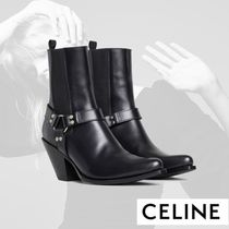CELINE Plain Toe Casual Style Plain Leather Block Heels