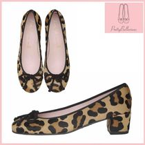 Pretty Ballerinas Fur Other Animal Patterns Block Heels Party Style