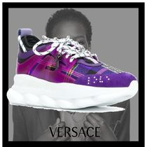 VERSACE Other Check Patterns Round Toe Lace-up Low-Top Sneakers