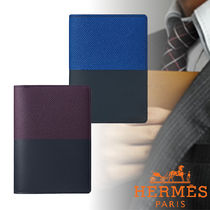 HERMES Unisex Calfskin Bi-color Plain Folding Wallets