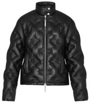 Louis Vuitton Short Monogram Blended Fabrics Plain Leather Biker Jackets