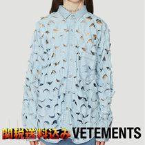 VETEMENTS Casual Style Street Style Long Sleeves Cotton