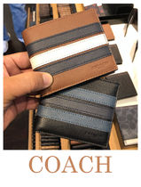 Coach Stripes Leather Folding Wallets