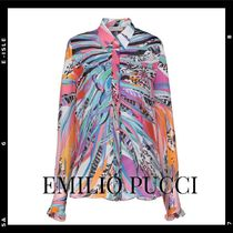 Emilio Pucci Flower Patterns Star Casual Style Silk Long Sleeves Medium