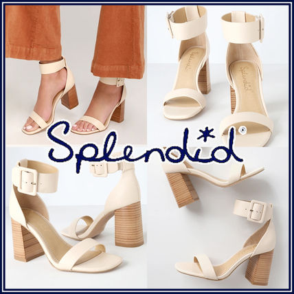Open Toe Rubber Sole Casual Style Leather Heeled Sandals