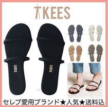 TKEES GEMMA Rubber Sole Plain Leather Flip Flops Flat Sandals