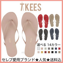 TKEES Rubber Sole Casual Style Plain Leather Flip Flops