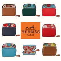 HERMES Silk In Leather Coin Purses