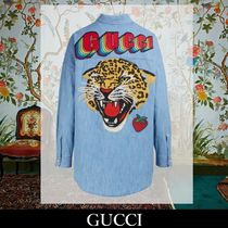 GUCCI Long Sleeves Cotton Elegant Style Shirts & Blouses
