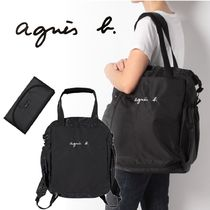 Agnes b Nylon 2WAY Plain Logo Totes