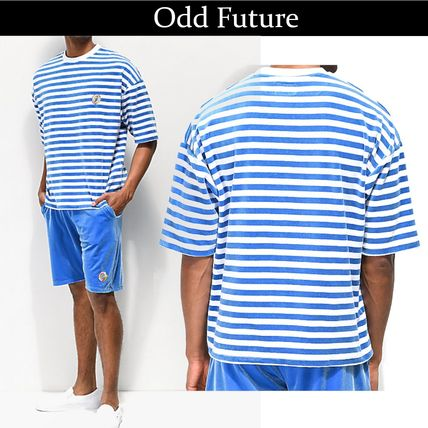 Crew Neck Pullovers Stripes Cotton Short Sleeves
