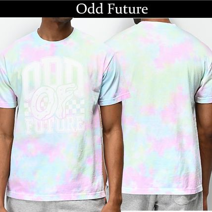 Crew Neck Pullovers Tie-dye Cotton Short Sleeves Logo