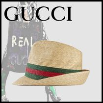 GUCCI Straw Boaters Straw Hats
