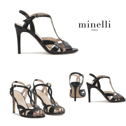 Open Toe Plain Leather Pin Heels Python Elegant Style