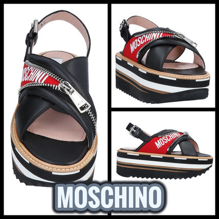 Open Toe Platform Casual Style Street Style Leather