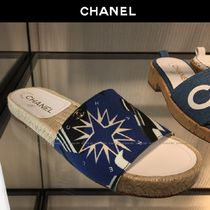 CHANEL Platform Blended Fabrics Slippers Platform & Wedge Sandals