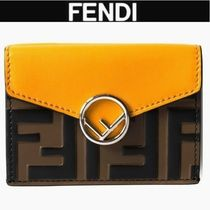 FENDI Monogram Plain Leather Folding Wallets