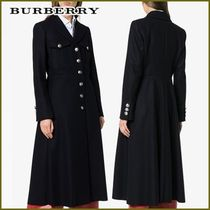 Burberry Wool Plain Long Elegant Style Coats
