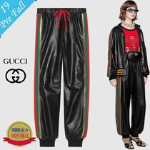GUCCI Stripes Plain Leather Long Leather & Faux Leather Pants