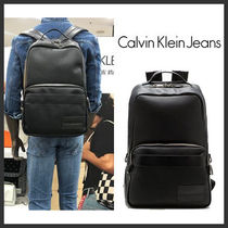 Calvin Klein Unisex Faux Fur Street Style Plain Backpacks