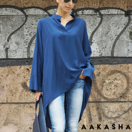 Casual Style Long Sleeves Plain Long Handmade
