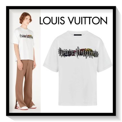Louis Vuitton Crew Neck Crew Neck Pullovers Bi-color Cotton Short Sleeves