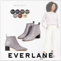 Everlane Plain Leather Block Heels Elegant Style