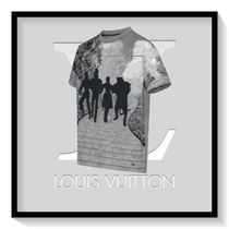 Louis Vuitton Crew Neck Pullovers Cotton Short Sleeves Crew Neck T-Shirts