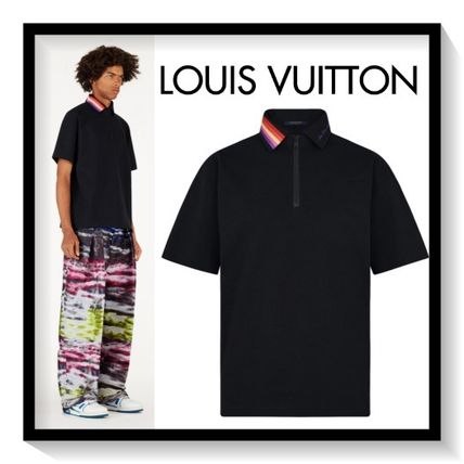 Louis Vuitton Polos Pullovers Stripes Plain Cotton Short Sleeves Polos