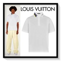 Louis Vuitton Pullovers Stripes Plain Cotton Short Sleeves Polos