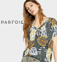 PARFOIS Flower Patterns Tropical Patterns V-Neck Medium