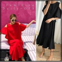 Casual Style A-line Linen Plain Long Short Sleeves Oversized